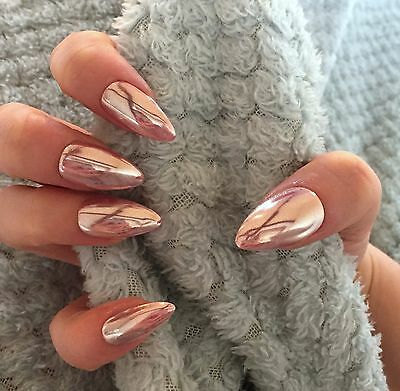 FALSE NAILS - Light Pink Chrome, Mirror, Holographic - Stick On - The Holy Nail