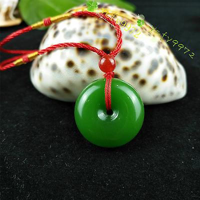 Fashion Natural Jade Buckle Necklace Pendant Chinese Hand-Carved Lucky Amulet