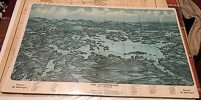 Map Lake Winnipesaukee New Hampshire 1925 Vintage Steamer Mount Washington View