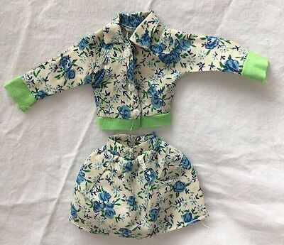 Vintage Knock Off Barbie Clone Outfit TURQUOISE Aqua Green FLORAL SKIRT JACKET