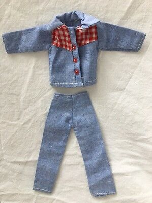 Vintage Knock Off Barbie Ken Clone Outfit BLUE CHAMBRAY Denim Red Gingham