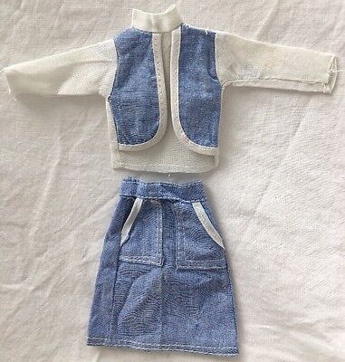 Vintage Knock Off Barbie Ken Clone Outfit BLUE CHAMBRAY Denim SKIRT White Blouse