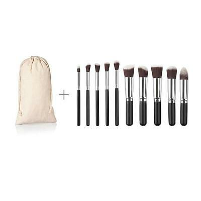 10PCS Professional Cosmetic Make Up Brush Set Foundation Powder Brush With Pouch
