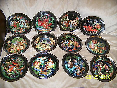 Ruslan And Ludmilla  Seven Bogatyrs Russian Legends Plates Collection Set