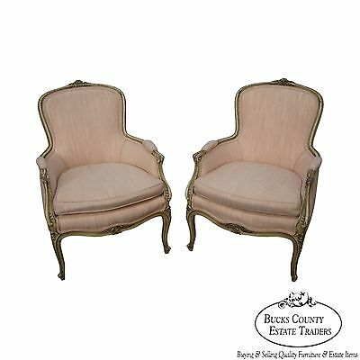 Vintage Pair of Paint Frame French Louis XVI Style Bergere Chairs