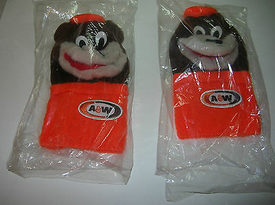 """5. LOT OF 2  A&W ROOT BEER HAND PUPPETS  """"The Great Root Bear"""""""
