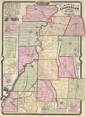 1852 Map of Livingston County New York from actual surveys Geneseo