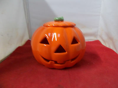 G22 Ceramic Pumpkin Candle  Holder Russ Berrie With Lid