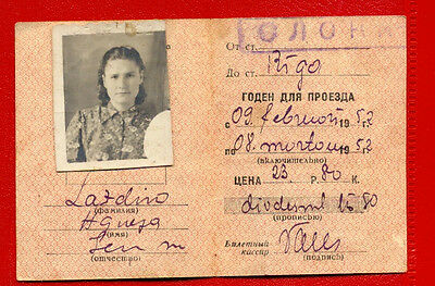 Latvia Russia Riga Railway 1952 Train Monthly Ticket With Photo 2202