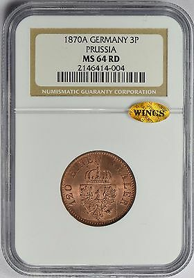 1870 A German States PRUSSIA 3 Pfennig  NGC & WINGS MS64 RD