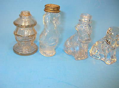 Lot of 4  Vintage Glass Candy Containers. OWL, LANTERN, TWO DOGS