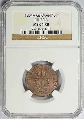 1854 A German States PRUSSIA 3 Pfennig  NGC MS64 RB