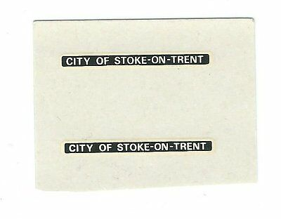 """ City of Stoke-On-Trent""  Waterslide Name TransfereS. One Pair."