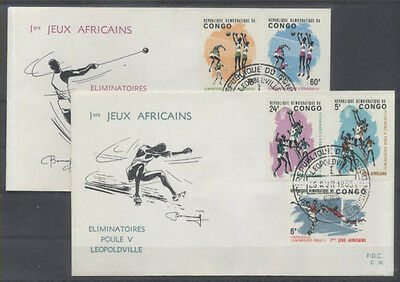 CONGO BELGE FDC 36-37 - 1ers JEUX AFRICAINS - 1965 LUXE - BASKET VOLLEY FOOTBALL