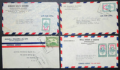 Nicaragua Airmail Set of 4 Covers Letters Envelopes Victoria Stamp Briefe H-8388