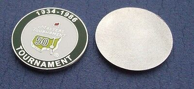 FLAT 1 inch 1986  US MASTERS 50th Aniversary Golf ball marker Jack Nicklaus