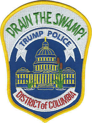 "Drain the Swamp! Trump Police Metropolitan Police DC Shoulder Patch 5""x3.75"" NEW"