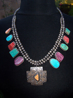 Navajo Sterling Silver CROSS PATH Turquoise Spiny Oyster Squash Blossom Necklace