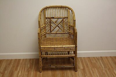 Vintage Bamboo Rattan Living Room Arm Lounge Chair French Regency Caning Wicker