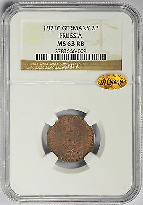 1871 C German States PRUSSIA 2 Pfennig NGC & WINGS MS63 RB