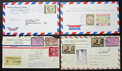 Ecuador Registered Airmail Set of 4 Covers Letters Lupo MiF R-Briefe (H-8395