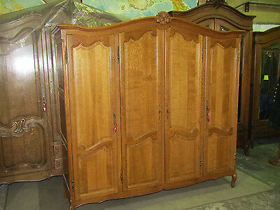 Large 4 door carved French oak wardrobe,armoire,with shelves Louis XV