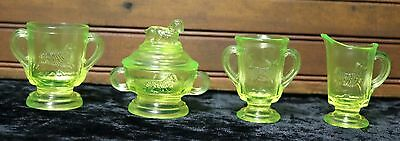 Boyd Glass Child's Lamb Set Tangy Limes (Glows under black light) Vaseline Glass