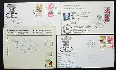 Israel Postage Set of 4 Covers Letters Signed GEO Pilot Eisenhower Briefe H-8403