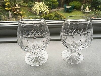 Pair WATERFORD Crystal 'Lismore' Pattern Brandy Balloons / Glasses  Mint. Etched