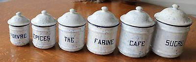 Set of 6 Antique FRENCH Enamelware Graniteware  CANISTERS Snow on the Mountain