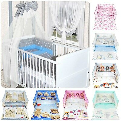 3 PIECES NURSERY - BABY BEDDING SET- BUMPER/ PILLOW / QUILT COVERS to fit COT