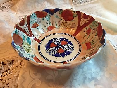 Antique Japanese Imari Porcelain Scallop Edge Bowl