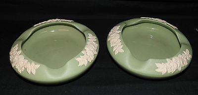 Vintage Pair Green Ecanada Pottery Ashtrays. Rare to Find Two in Good Shape