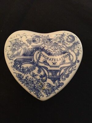 SPODE Trinket Box, heart shaped with lid