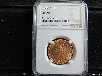 1882 $10 Gold Liberty Eagle - Nice Problem Free Gold Coin - NGC AU58 - Sale#0014
