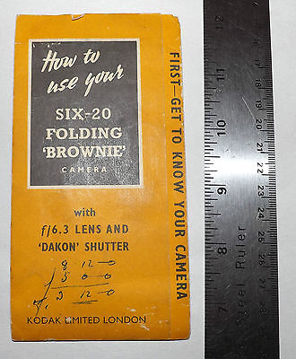 Instruction Book for Kodak SIX-20 Folding Brownie Good Condition  Intact