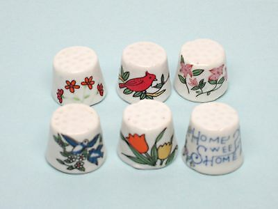 Ceramic Collectible Thimbles, Decorative, set of 6