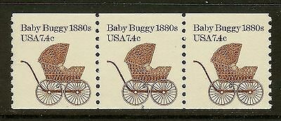 USA 1984 Scott 1902 7.4c Baby Buggy Coil Strip of 3 Plate #2 Mint NH