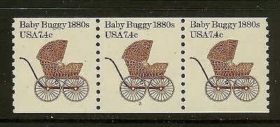 USA 1984 Scott 1902 7.4c Baby Buggy Coil Strip of 3 Plate #2 Wide Margin Mint NH