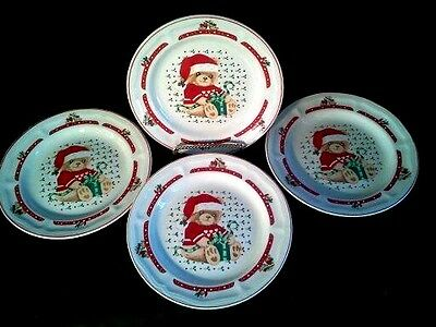 Tienshan Country Bear Christmas with Present Stoneware Salad Plates set of Four