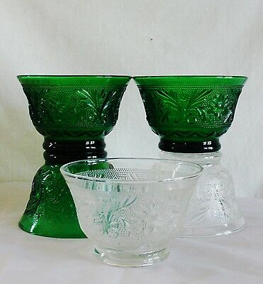 5 Federal Crystal Heritage Footed Custard/Dessert Cups 3 Green 2 Clear Vintage