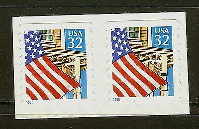 USA 1995 Scott 2915 32c Flag Over Porch Self Adhesive Coil Pair Mint NH