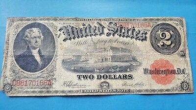 1917 $2 Dollar United States Note Large Bill  Red Seal Speelman/White