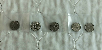 QEII 5 X 1957 SIXPENCE UNCIRCULATED - sealed pack