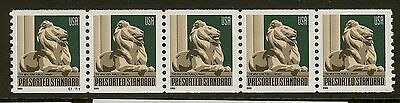 US Scott 3769 10c Lion-New York Library, P# S11111 Coil Strip of 5, Mint NH