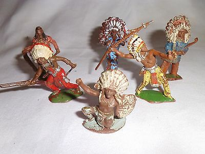 Vintage plastic toy soldiers Cherilea 50mm red indians