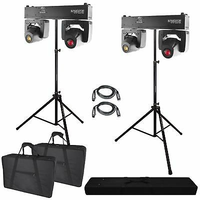 2 Chauvet DJ Intimidator Spot Duo 155 Dual LED Moving Heads + Cases + Stand
