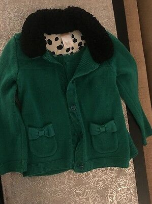 Gymboree Girls Size 3 T Sweater Dalmatian Collection Green With Pockets