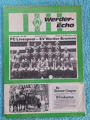 1978 - WERDER BREMEN v LIVERPOOL PROGRAMME - FRIENDLY