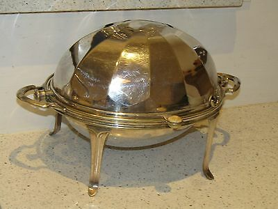 Antique 19th c Silver Plated Manoah Rhodes REVOLVING DOME TOP Serving Dish Bacon